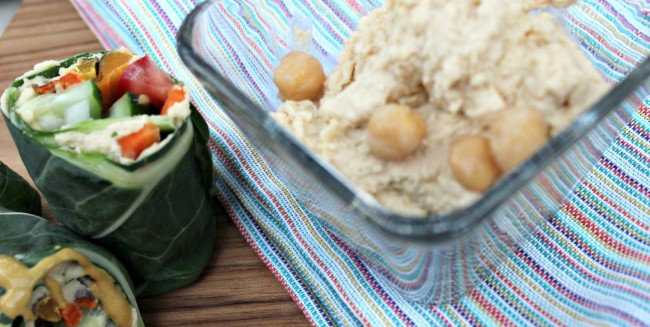Homemade Hummus + a Vegetable Collard Wrap Recipe